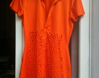 Jean Paul Gaultier Top in orange with cut out at the front 1990s