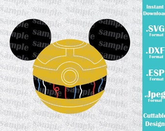 INSTANT DOWNLOAD SVG Disney Inspired C3PO Mickey Ears for Cutting Machines Svg, Esp, Dxf and Jpeg Format Cricut Silhouette