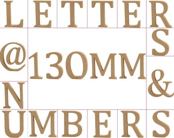 Large 130mm Wooden MDF Capital, Numbers & Symbols