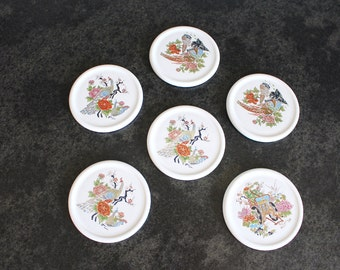 Asian Porcelain Coasters, Set of 6, Birds and Flowers