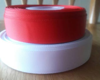 15 Yards!!!!, red ribbon, white ribbon, 7/8 grosgrain ribbon, ribbon , solid ribbon