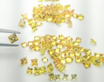 Natural lemon yellow square sapphire. 2, 2.25, 2.5, 2.75, 3, 3.25, 3.5, 4, 4.25 & 4.5mm