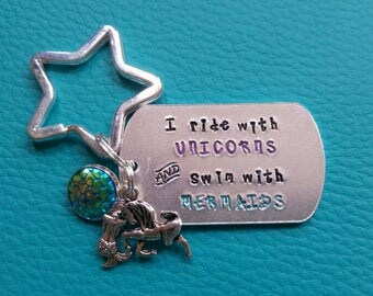 Ride with unicorns swim with mermaids handstamped charm keyring keychain