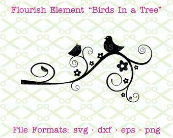Flourish SVG, Dxf, Eps & Png. Digital Cut Files for Cricut, Silhouette; Bird Svg, Tree Svg, Flourish Clipart Element, Floral Svg, Swirl Svg