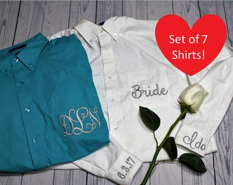 Set of 7 Embroidered Monogrammed Button Down Shirt, Bridesmaids Oversized Shirt, Bridal Shirt, Getting Ready Shirt, Wedding Day Shirt