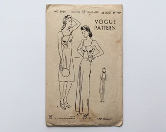 1940s B36 Slip / Dress Sewing Pattern : Vogue 8860