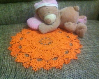 SALE! Orange crochet doily - tablecloth - handmade - crochet tableclothes, Home Decor, decoration for home