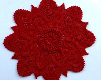 3D Crochet Doily rad Textured Doily cotton 12 inches milky