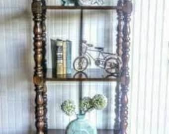 Vintage Mediterranean Retro Ornate Dark Wood Bookcase Bookshelf Linen Storage Fancy Ornate