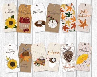 Printable Thanksgiving Tags, thanksgiving tags, fall tags, autumn tags, printable thanksgiving tags, printable tags, set of 12 fall tags