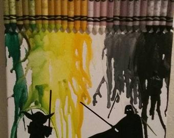 Crayon Art, mekted wax, may the force be with you , Canvas Art, Star Wars , Darth Vader, Yoda