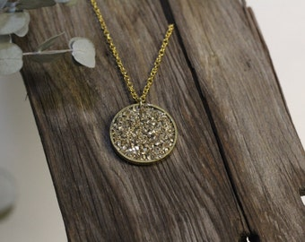 Modern Silver and Gold Flake Circle Necklace