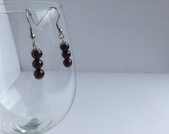 Garnet earrings - Gemstone earrings - Beads earrings - Gift for her - Ladies gift - Ladies earrings - Birthday gift - Easter gift -