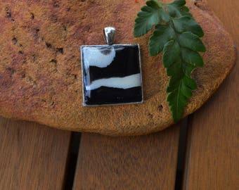 Black and White Zebra Pendant Handmade Square Silver Pendant Black & White Polymer Clay Zebra Style Necklace