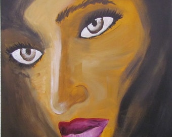 """Abstract acrylic painting """"Mystery woman"""" 50 x 50 cm"""