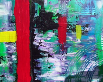 Kind of MisQue. Acrylic painting Red River 80 x 60 cm