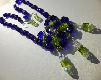 Beautiful Necklace and Earrings Cobalt Blue glass beads and Swarovski Crystals