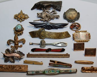 lot of 19 antique bar pins, mourning pins, gold plated, enameled, silver