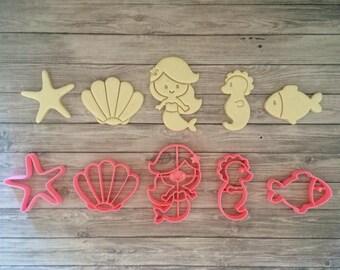 Mermaid & Friends Cookie Cutter Set 5 pcs/ Cute/ Mermaid/ Princess/ Seashell/ Seahorse/ Fish/ Starfish/ Underwater/ Party/ Birthday/ Beach