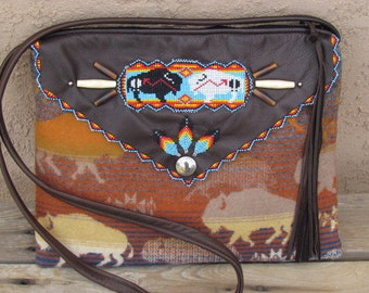 Native American Beaded Shoulder Bag Purse made with Leather and Pendleton® Wool Beaded Bag Southwest Style