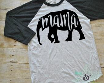 Women's Mama Elephant Raglan Tee