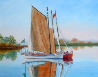 Sailboats original oil painting sunset scene with reflections 16x20