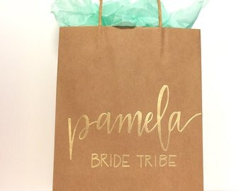 Personalized gift bag - hand lettered and embossed, these custom bags are perfect for bridal party gifts, weddings, teachers gifts etc
