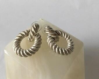 1990s Anne Klein Braided Silver Door Knocker Earrings