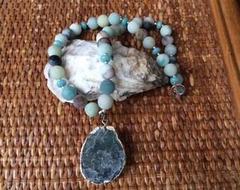 Gemstone beaded necklace, Beaded necklace, Amazonite necklace, blue necklace, pendant necklace, chunky necklace, beaded pendant necklace