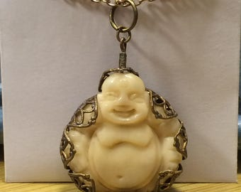 Lotus wrapped Buddha pendant necklace