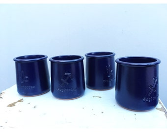 Set of four dark blue french pots