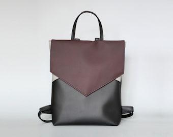 Vegan leather backpack - Minimal bordeaux backpack - Faux leather backpack