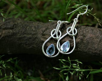 Silver Earrings With Topaz Raindrop