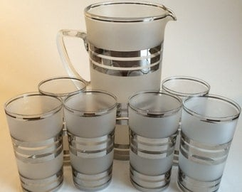 Art Deco frosted glass lemonade pitcher set
