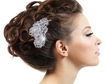 Luxury Dual Diamante Feather Bridal Comb
