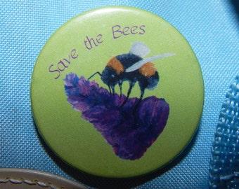Save the bees badge, 38mm badge, bee pin