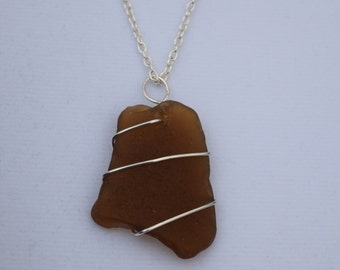 Brown sea glass silver wire wrapped necklace pendant