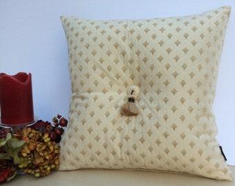 Cream Tasseled Cushion with Ditsy Velour Motif - 45cm X 45cm Square