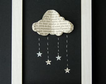 Framework 3D star rain cloud - old paper book recycled