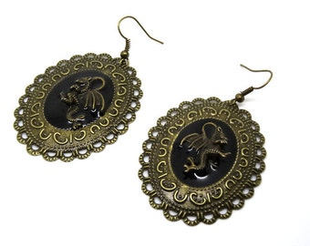 Steampunk dragon earrings