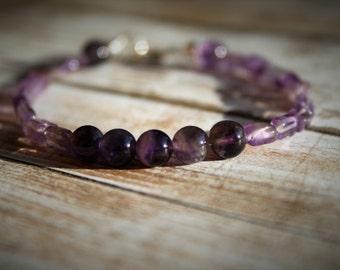 Amethyst Beaded Bracelet, Amethyst Beaded Jewelry, Amethyst Sterling Silver Bracelet, February Birthstone Bracelet, Birthstone Bracelet