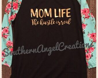 Mom Life Flower Sleeved Raglan
