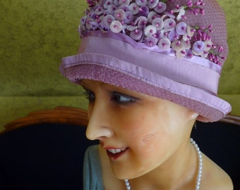 Cloche Hat in Pink and Salmon, ca. 1924