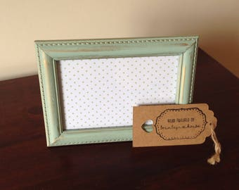 "Light green and gold Picture Frame 6""x4"""
