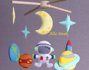 Space baby mobile, Spaceship baby mobile, Planet mobile, Space crib mobile, Astronaut crib mobile, Rocket baby mobile, Space nursery mobile