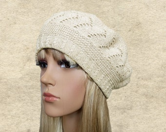 Ladies knitted beret, Womens knit beret, Slouchy beanie hat, Knit women's hat, Slouch knit beret, Lightweight beret, Light weight beanie