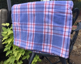 Plaid red, white, and blue tablecloth