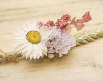 Dried Flower Buttonhole in Purple, White and Pink