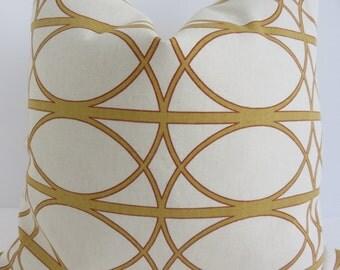 Mustard Cream Pillow Cover, Pillow Cover, Yellow Pillow Cover, Dwell Studio Fabric, Robert Allen Fabric, Dwell Studio Pillow
