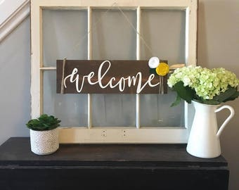 Welcome-Wooden Sign